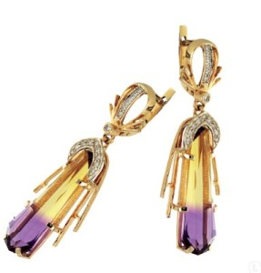 ametrine gold earring