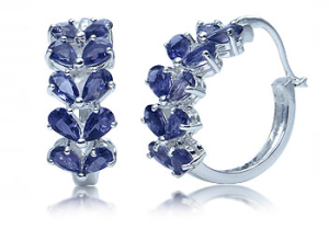 earings with iolite stones