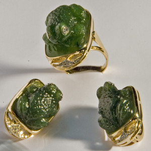 jade, nephrite jewelry with diamonds in gold frame